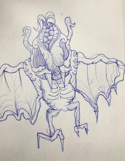 Bat Sketch By Elliott Webb